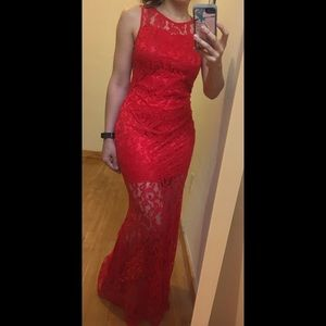 Dresses & Skirts - Full length red lace dress
